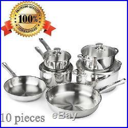 10 Pc Stainless Steel Cookware Set Sauce Pans Casserole Pan Frying Pan Stock Pot