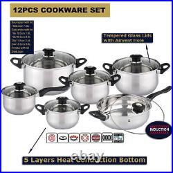 12Pc Stainless Steel Induction Hob Casserole Saucepan Stock Pot Fry Pan Cookware