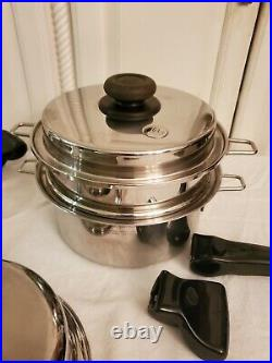 12 PIECES SALADMASTER TITANIUM COOKWARE STAINLESS STEEL Removeable Handles