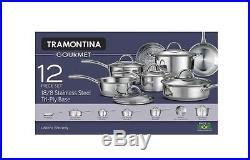12-Piece Gourmet Tri-Ply Base Cookware Set, Stainless Steel Sauce Pan, Stock Pot
