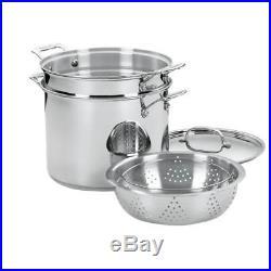 12 Qt Covered Stock Pot Cooker Pasta Insert Steamer Basket Home Kitchen Cookware
