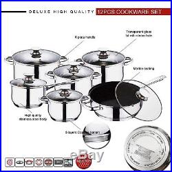 12pc Cookware Set, Deluxe Quality Stainless Steel, Casserole, Stock Pot, Fry Pan