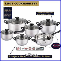 12pcs Deluxe Quality S/s Steel Casserole Stock Pot Pan Set Induction Cookware