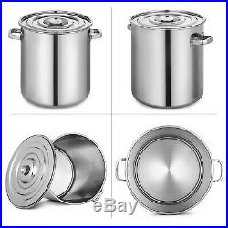 130L/137.5QT Polished Stainless Steel Stock Pot Brewing Beer Kettle with Lid