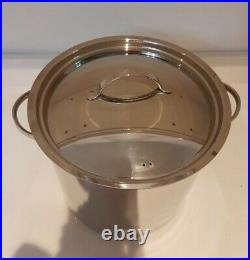 13.2 litre Deep Stock Pot Large Soup Stainless Steel Cooking Boiling Pan + Lid