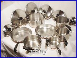 13 Pc Vtg Revere Ware Pot Pan Set Lids Copper Clad Stock Pot skillets Cookware