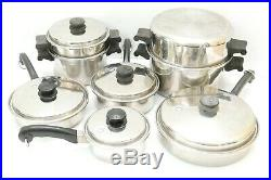 13 Piece Set Saladmaster 18-8 Tri-Clad Stainless Steel Cookware with Vapo Lids