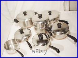 14 Pc Vtg Revere Ware Pot Pan Set Lids Copper Bottom Stock Pot skillets Steamer