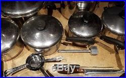 16 pieces 1801 Revere ware copper 8, 6, 4, 2, 1 qt. Stock pot. 12 Frying pan