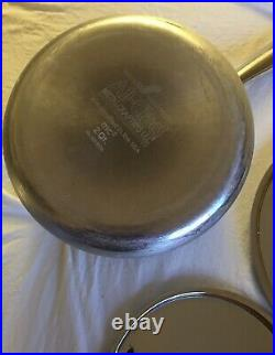 2 Vintage ALL-CLAD Metal Crafters Pots 2qt / 3.5qt Lidded Brushed Stainless NICE