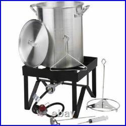 30 Qt Aluminum Turkey Deep Fryer Kit Stock Pot Propane LP Outdoor Range Burner