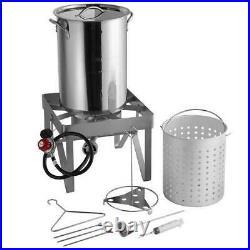 30 Qt STAINLESS STEEL Turkey Deep Fryer Kit Steamer Stock Pot Propane LP Outdoor