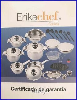 30pcs Erikachef Cocina Cookwares Premium Set Stainless Steel 18/10 Pan Steamer
