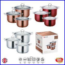 3Pc Non Stick Stock pot Induction Metallic Stainless Steel Pan Pot Casserole Set