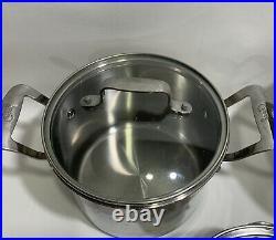 3 Emeril Lagasse stainless steel 6 qt quart, 3 Quart & 1.5 qt pots with lids