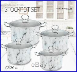 3pc 4pc Non Stick Deep Stockpot Cooking Pot Pan Casserole Set Stainless Steel