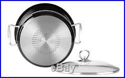 3pc Large Metallic Stainless Steel Stockpot Set Deep Casserole Cookware Lid Pot