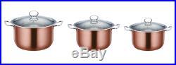 3pc Metallic Stainless Steel Casserole Stockpot Set Deep Cooking Pot Pan Copper