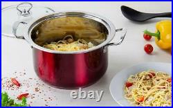 3pc Stainless Steel Stockpot Induction Cookware Casserole Cooking Pot Set Red