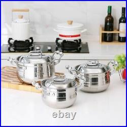 3pcs Stainless Steel Stock Pot Deep Casserole Set Cooking Pot set 24cm 26cm 28c