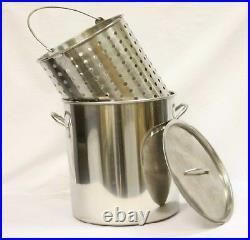 42 qt Quart 10 Gal Stainless Steel Stock Pot Steamer Basket Beer Turkey Fryer