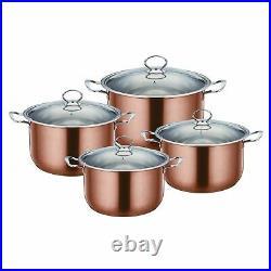 4pc Metallic Stainless Steel Non Stick Casserole Stockpot Set INDUCTION Cookware