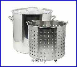 53 qt Quart 13 Gal Stainless Steel Stock Pot Steamer Basket Beer Turkey Fryer