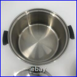 5 Piece Amway Queen Cookware Multi-PLY 18/8 Stainless Steel 6QT 1QT Pot Lid Fry