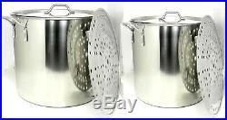 80 qt + 60 qt Quart Stainless Steel Beer Brew Stock Pots Rack+Lid BA79-60/80