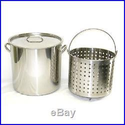80 qt Quart 20 Gal Stainless Steel Stock Pot Steamer Boil Basket Beer Brew Fry