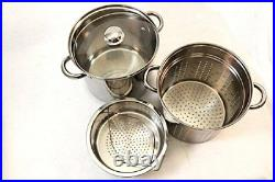 8 Quart Stock Pot Pasta Cooker With Strainer Stainless Steel Cookware 4 Pcs Set