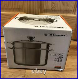 9 Quart LE CREUSET Stainless Steel Stockkpot with Insert & Lid 26cm NWT LC Box