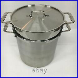 ALL-CLAD Brushed Stainless Steel 12-QT MULTI-COOKER STOCK POT with Lid, Inserts