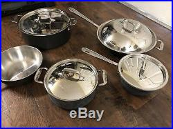 ALL-CLAD Lot of 9 pieces cookware set Stainless Lid Pot Pan Stir fry All Clad