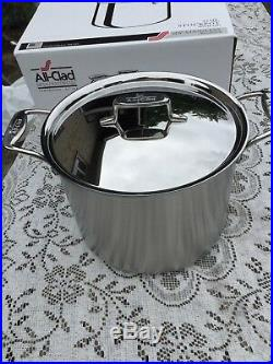 ALL CLAD NEW D5 BRUSHED STAINLESS STEEL 12 QUART STOCK POT withLID FREE SHIPPING