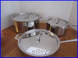 ALL CLAD Stainless Steel 6 Piece Set Stock Pot, SAUCE PAN & Frying Pans with Lids