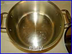 ALL-CLAD Stainless Steel 6 Quart Stock Pot With Lid Side Handles 11 Clean EUC