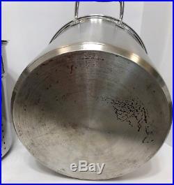 All-Clad 12 Qt Multi Cooker Stock Pot Lid Steamer Pasta Inserts Strainer Baskets