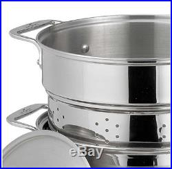All-Clad 12-Quart Stainless Steel Multi-Cooker Kitchen Cookware Stock Pot TwoLid