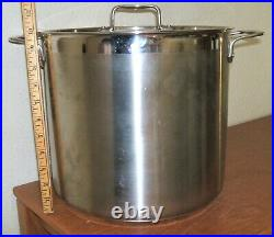 All Clad 16qt Stockpot Multi-ply Stainless Steel Brushed Made USA Large Soup Pot