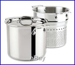 All-Clad 4807 Stainless Steel Tri-Ply Dishwasher Safe 7-qt Pasta Pentola withLid