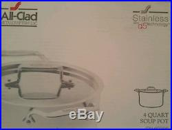 All Clad 4 Qt Soup Pot D5 Stainless Steel New in Box SD552043