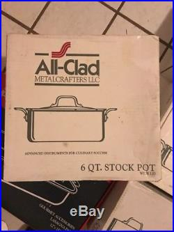 All-Clad 6 Qt Stock Pot polished stainless Steel With Lid EUC In Factory Box