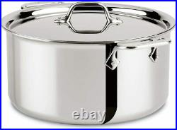 All-Clad 8QT Stainless Steel Stockpot with Lid, 4508 Brand New In Retail PKG