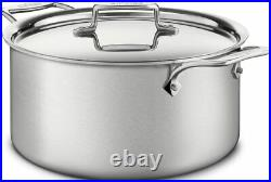 All-Clad BD55508 D5 Brushed 5-Ply Stainless Steel 8-qt Stock Pot with Lid NIB