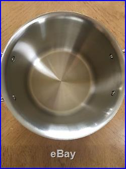 All Clad Copper Core Tall Stock Pot With Lid 7 Qt 5 Ply Stainless Pan Steel New