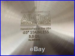All Clad D5 5.5 Qt Dutch Oven STOCK POT Brushed Nickel