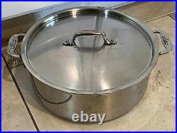 All-Clad POLISHED STAINLESS STEEL 6QT COVERED STOCK POT, PREOWNED, GREAT SHAPE