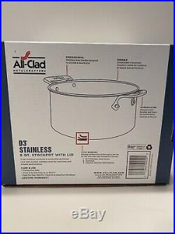 All Clad Stainless 8 Qt STOCK POT with LID Item # 4508 Tri Ply Stainless