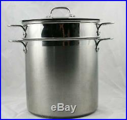 All-Clad Stainless Steel 4 Piece 12 qt Stock Pot Steamer Pasta Pot with Cover